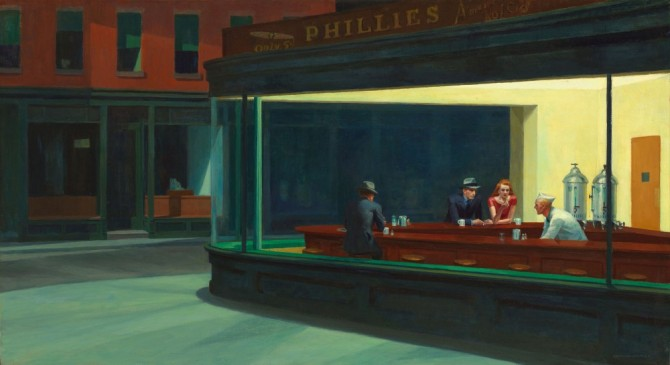 NIGHTHAWKS by Edward Hopper. 1942. Public Domain.
